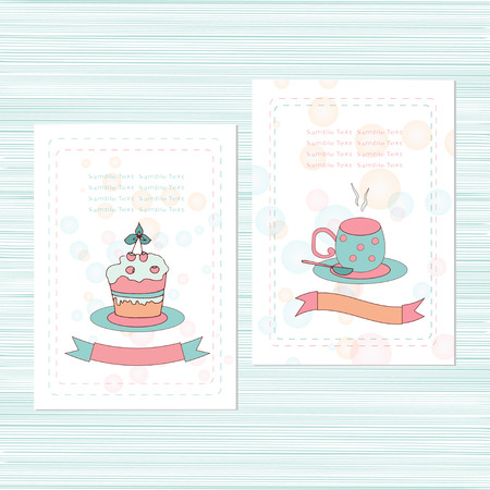 Template. Merry card, invitation, greetings. Image - cup cake. Doodle, sketch.