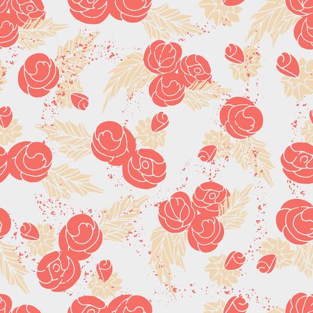 Background of pink roses. Seamless Vector illustration.