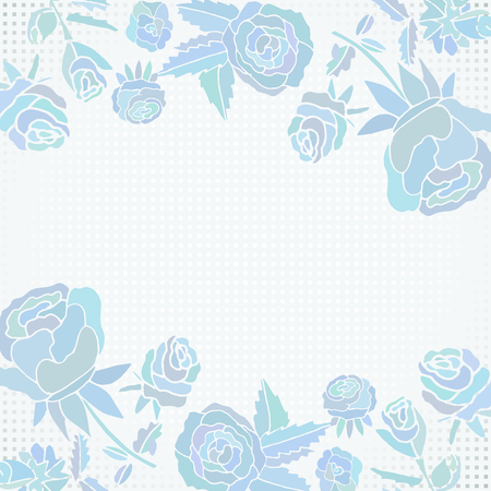Background with blue roses and flowers. Card, frame, edge. Vintage Doodle Vector illustration.