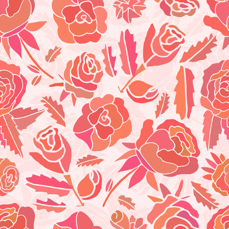 Pink roses and flowers seamless doodle.