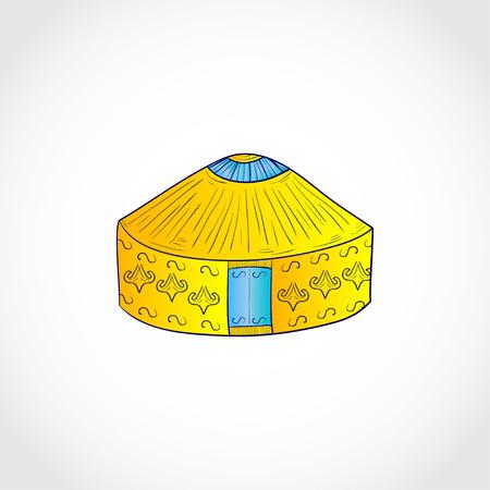 Yurt. Sketch. Logo, emblem. Color illustration on white background