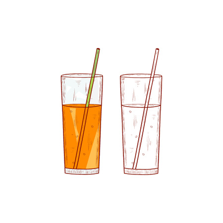 A glass with a straw. Sketch. A glass with juice. Color and monochrome drawing. Illustration