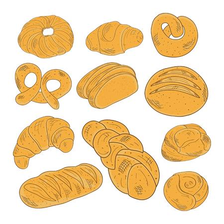 Bakery products. Bun, bread, kalach, kroasan. Set, sketch