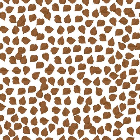 Buckwheat. Background, wallpaper seamless. Sketch. Brown grains, granules. Stok Fotoğraf