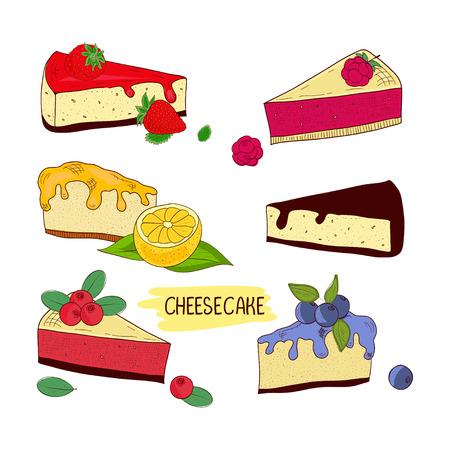 Cheesecake. Set. Chocolate, lemon, blueberries, raspberries, strawberries. Sketch. Stock Photo