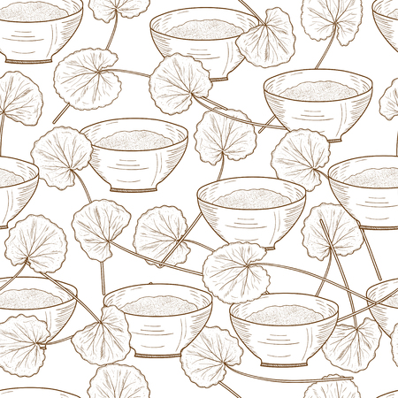 Gotu kola. Background, wallpaper, seamless. Sketch. Monochrome