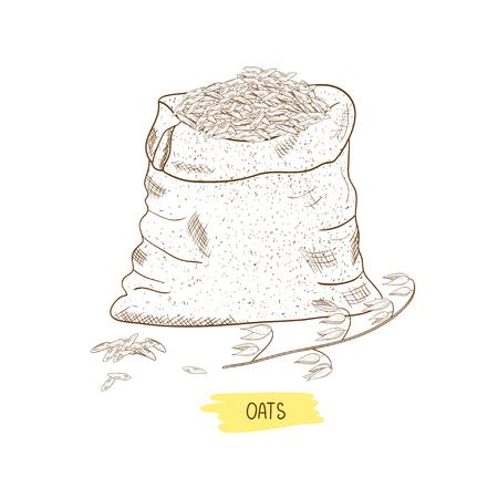Oats. A bag, a grain, an ear. Sketch Stockfoto