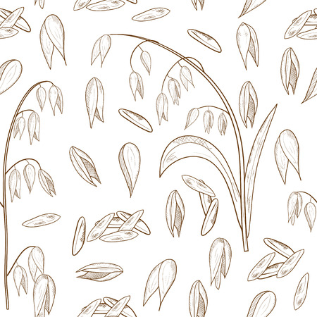Oats. Cereals. Brush, grain. Background, wallpaper, seamless. Plain, sketch