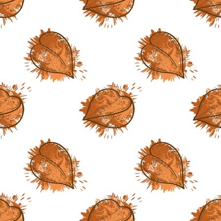 Buckwheat. Groats. Sketch, watercolor. Seamless. Background, wallpaper. Stock Photo