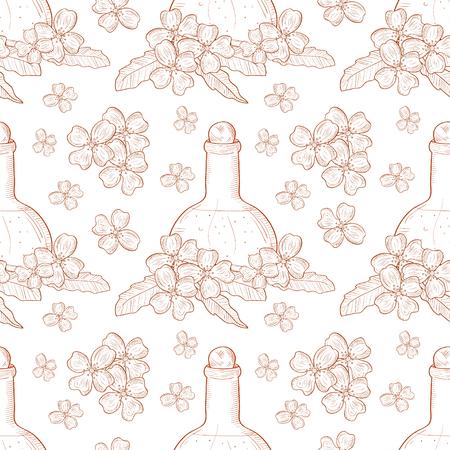 Jasmine. Flowers and oil, perfume. Sketch. Background, wallpaper, seamless. Monochrome