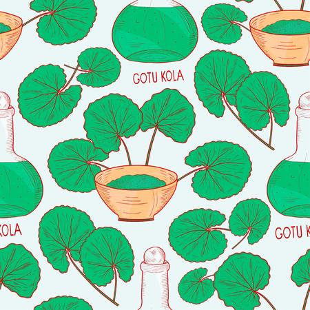 Gotu kola. A plant, a bottle, a bowl. Background, wallpaper, seamless. Sketch. Color pattern.