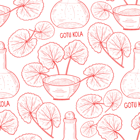 Gotu kola. A plant, a bottle, a bowl. Background, wallpaper, seamless. Sketch. Monophonic