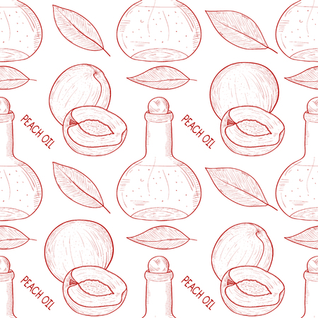 Peach. Fruit, leaves, a bottle of oil. Sketch. Background, wallpaper, seamless. Monochrome.