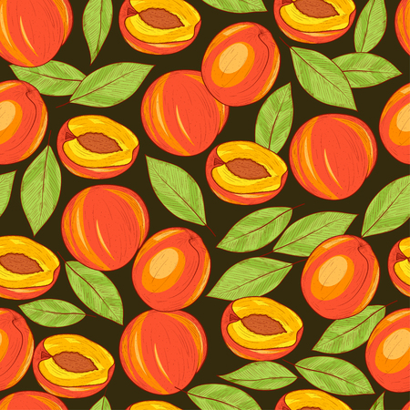 Peach. Fruit, leaves. Colorful pattern on a black background. Bright. Wallpaper, seamless. Sketch.
