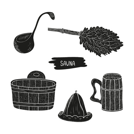 Sauna. Set. Broom, hat, bucket. Silhouette. Black pattern on white background.