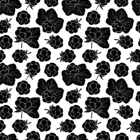 Cloudberry. Berries, leaves. Black silhouette. On a white background. Seamless, wallpaper.