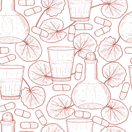 Gotu kola. A plant, leaves. A glass, a capsule, a bottle with a tincture. Background, wallpaper, seamless. Sketch. Monochrome