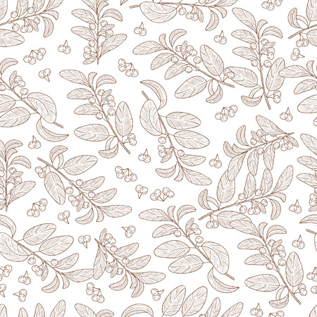 Guggul. Plant. Branch, leaves, fruit. Background, wallpaper, texture, seamless, fabric. Monochrome Illustration