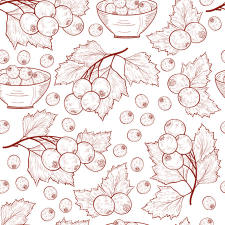 Hawthorn. Berries, leaves. Background, wallpaper. Seamless. Sketch. Monochrome