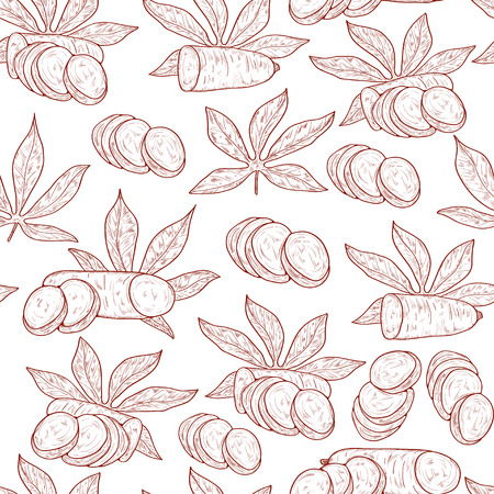 Cassava. Fruit, leaves. Background, wallpaper, texture, seamless. Sketch monophonic. On a white background.