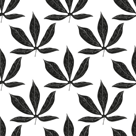 Cassava. Leaves. Background, wallpaper, texture, seamless. Black silhouette on white background.