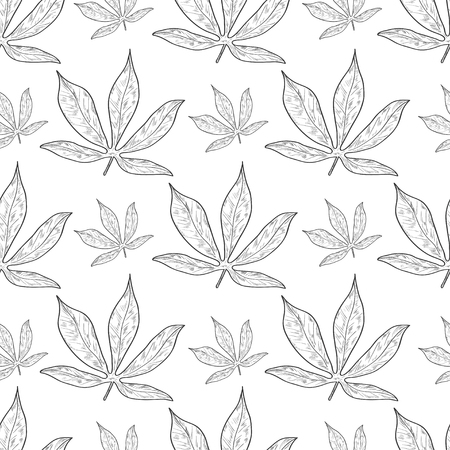 Cassava. Leaves. Background, wallpaper, texture, seamless. Sketch monophonic. On a white background. Illustration