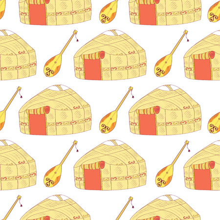 Yurt. Musical instrument. Sketch. Background, texture, wallpaper, seamless.