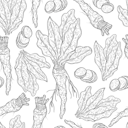 Horseradish. Plant. Leaves, root. Background, wallpaper, texture, seamless. Sketch, monophonic