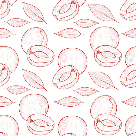 Peach. Apricot. Fruit and leaves. Sketch. Monochrome. Background, wallpaper, seamless. Can be used on packaging.