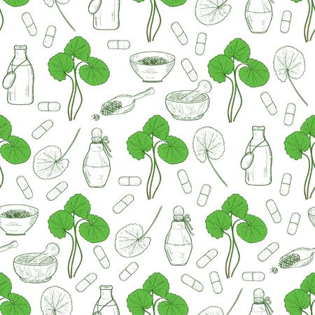 Gotu kola. Leaves, a bottle, a capsule, a bowl, a scoop. Background, wallpaper, seamless. Sketch.