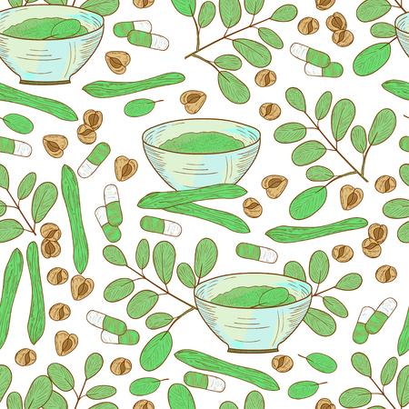 Moringa. Plant. Seeds, powder, bowl. Background, wallpaper, seamless. Sketch. Stock Vector - 113562339