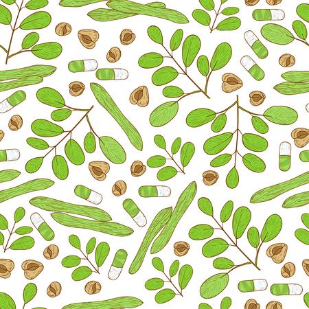 Moringa. Plant. Seed, capsule. Background, wallpaper, seamless. Sketch. Illustration