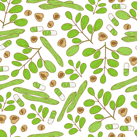 Moringa. Plant. Seed, capsule. Background, wallpaper, seamless. Sketch. Stock Photo