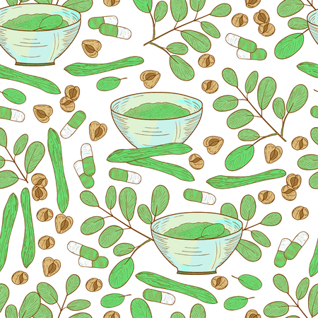 Moringa. Plant. Seeds, powder, bowl. Background, wallpaper, seamless. Sketch.