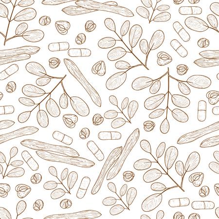 Moringa. Plant. Seed, capsule. Background, wallpaper, seamless. Sketch. Monochrome Stock Vector - 113562341
