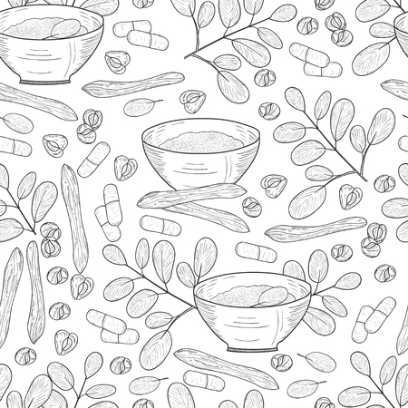 Moringa. Plant. Seeds, powder, bowl. Background, wallpaper, seamless. Sketch. Monochrome