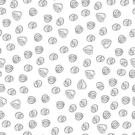 Moringa. Seed. Background, wallpaper, seamless. Sketch. Monochrome Illustration