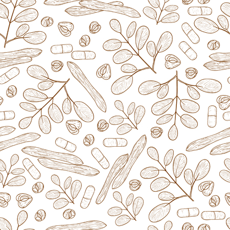 Moringa. Plant. Seed, capsule. Background, wallpaper, seamless. Sketch. Monochrome