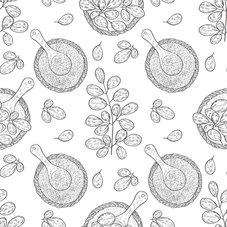Moringa. Leaf, basket, spoon, powder. Background, wallpaper, texture, seamless. Sketch.