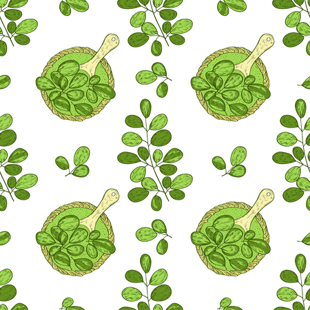 Moringa. Leaf, basket, spoon, powder. Background, wallpaper, texture, seamless. Sketch. Color