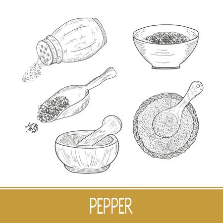 Pepper. Powder, bowl, spoon. Set. Monochrome. Ilustracje wektorowe