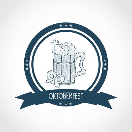 Oktoberfest. A mug of beer, foam, pretzel. Sketch. Logo, emblem. Monochrome. Blue