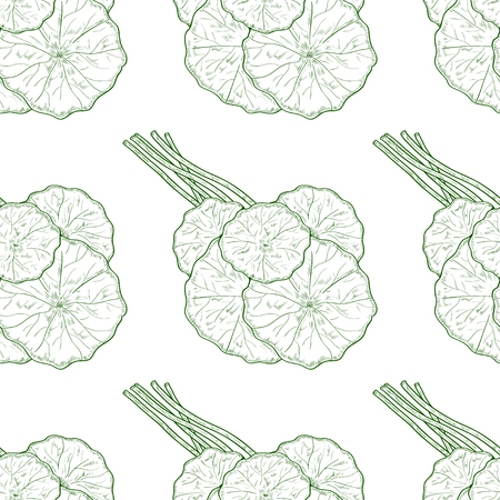 Gotu kola. Leaves, stem, bunch. Background, wallpaper, seamless. Sketch. Monochrome. Green.