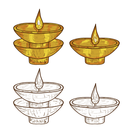 Aroma lamp, candle.Icon-lamp. Fragrance. Set. Sketch. Color, monophonic. On a white background.