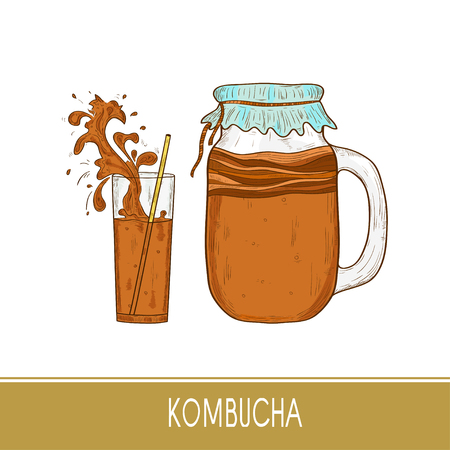 Kombucha. Mushroom. Vessel, straw, glass. Splash, spray. Sketch.