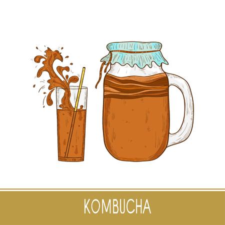 Kombucha. Mushroom. Vessel, straw, glass. Splash, spray. Sketch.