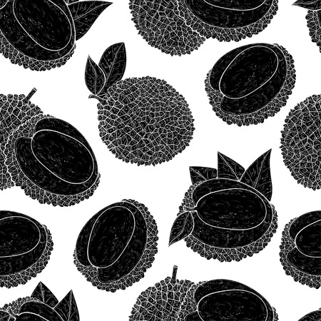 Lichee. Tropical Fruit. Wallpaper, seamless. Black silhouette on white background.