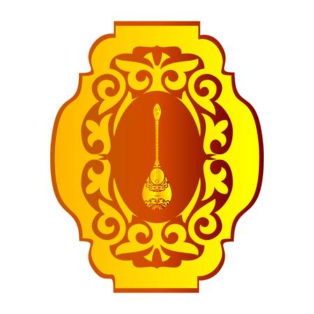 Dombra. National instrument. Pattern, ornament. Sketch. Logo Stok Fotoğraf