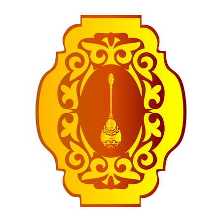Dombra. National instrument. Pattern, ornament. Sketch. Logo