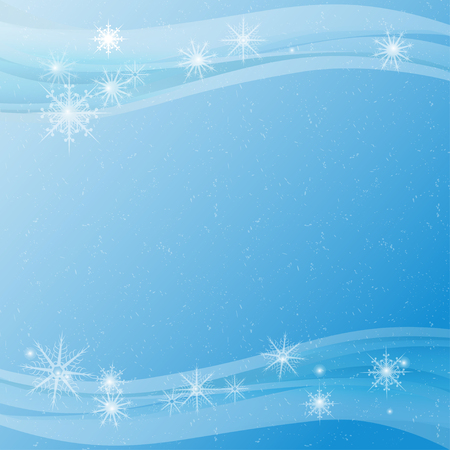 New Year. Celebration. Blue background, texture. Snow, snowflakes. Frame. Template, postcard.